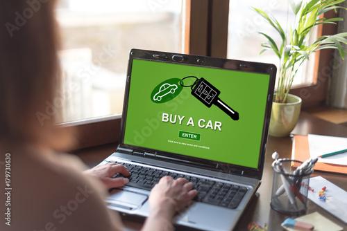 Car sale concept on a laptop screen