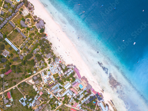 Poster Zanzibar Beautiful Zanzibar Nungwi beach with blue Indian ocean aerial view.