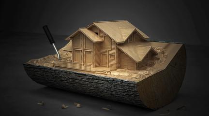 Ceppo di legno con modello architettonico, BIM