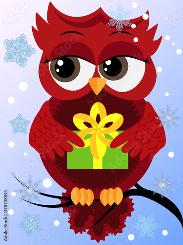 Foto op Plexiglas Uilen cartoon Red flirtatious owl on a branch holds a New Year's green gift sits on a branch, snow falls