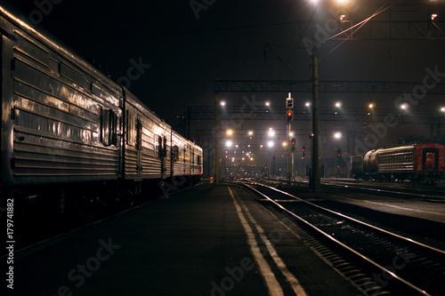 Fotobehang Nacht snelweg railway