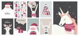 Merry Christmas cards, illustrations and icons, lettering design collection - no 4
