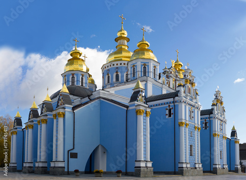 In de dag Kiev Panoramic view of the ancient Christian monastery in Kiev, Ukraine. Saint Michael's Golden-Domed Monastery. Blue cathedral in city central.