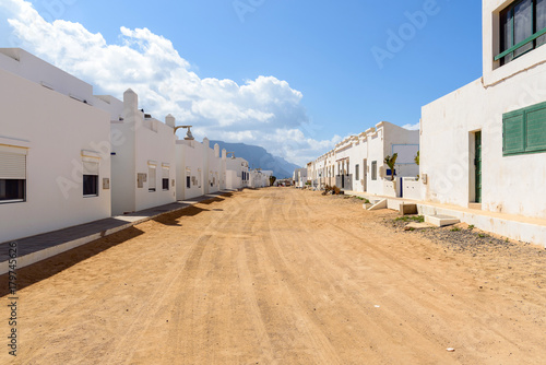 In de dag Canarische Eilanden street of Caleta de Sebo in La Graciosa island, Canary Islands, Spain