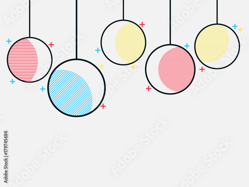 Foto op Aluminium Retro sign Christmas balls in the Memphis style, geometric shapes and simple forms. Vector illustration