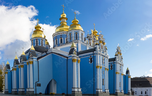 Foto op Plexiglas Kiev Panoramic view of the ancient Christian monastery in Kiev, Ukraine. Saint Michael Golden Domed Monastery. Blue cathedral in city central.