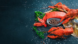 Seafood. Fish Vomer, lobster, salmon. On a wooden background. Top view. Free space for text. - 179749654