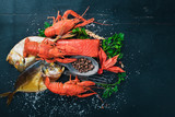 Seafood. Fish Vomer, lobster, salmon. On a wooden background. Top view. Free space for text. - 179749678