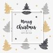 christmas greeting frame card scribble tree golden black background