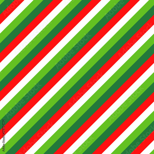 fototapeta na ścianę Christmas Candy Cane Four Color Stripes Vector Pattern in Red, White, Lime Green and Dark Green. Popular Winter Holiday Background. Diagonal Lines Texture Tile.