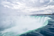 Close up view of the amazing Niagara Falls seen from the Canadian border in Autumn.