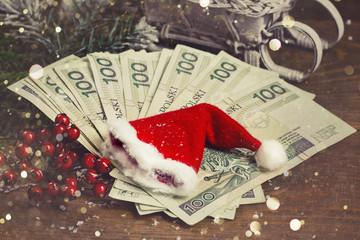 Gift money with Santa cap