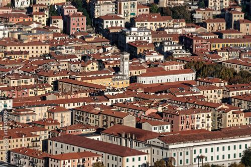 Aluminium Liguria aerialview of la spezia from a hill