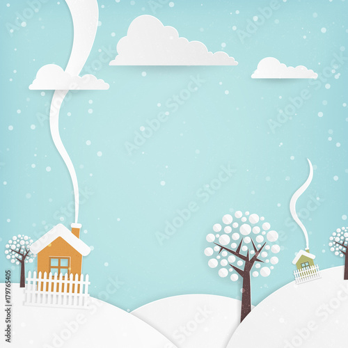 Fotobehang Lichtblauw Cute Minimal Winter Landscape, with Hills, houses, trees and Snow: Square with Copy Space