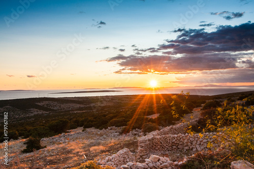 Foto op Canvas Zee zonsondergang Sunset on the coast of the Adriatic Sea