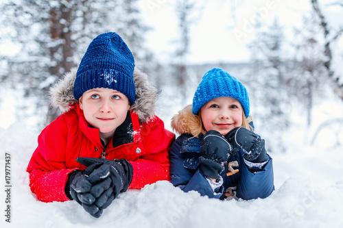 Kids outdoors on winter