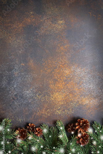 Sticker Christmas background with fir branches.Top view with copy space.