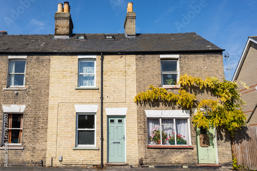 Two floors semi detached old house in bricks with colored doors and vine creeper Poster