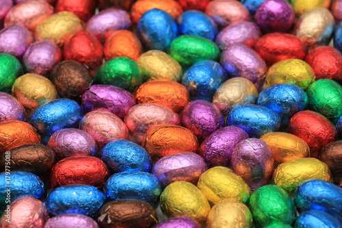 Poster Colored Chocolate easter eggs