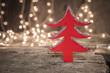 Christmas treemade od wood over bokeh lights