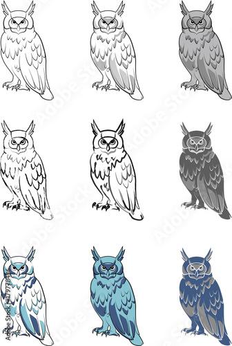 Foto op Canvas Uilen cartoon Print owl