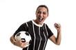 Fan / Sport Player on black and white uniform celebrating on white background