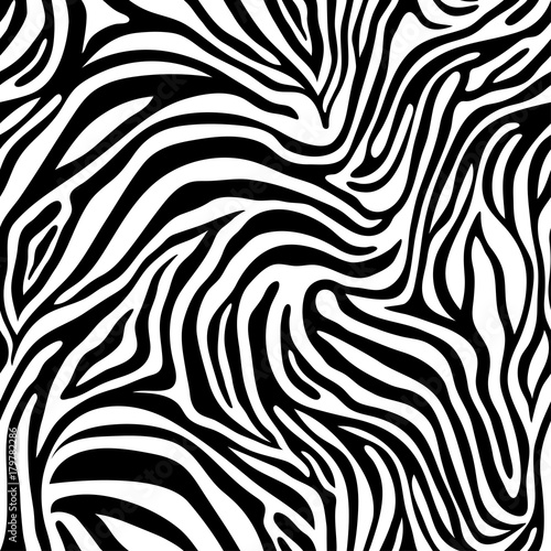 Seamless zebra skin pattern. Wallpaper with black stripes on white background. Zebra stripes hunting camouflage. - 179782286