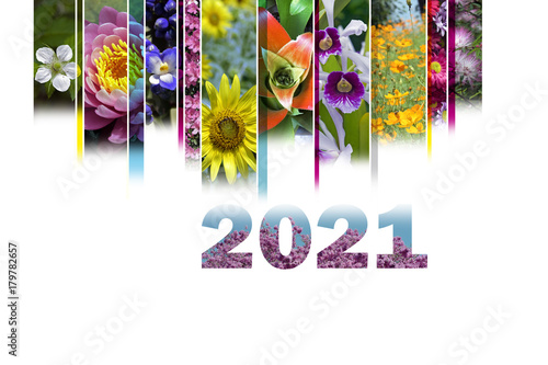 Poster 2021 with floral motif very cheerful and colorful
