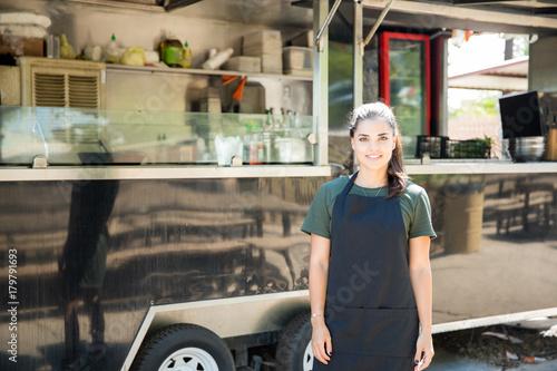 Fridge magnet Beautiful food truck owner