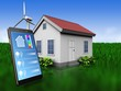 3d phone application over meadow