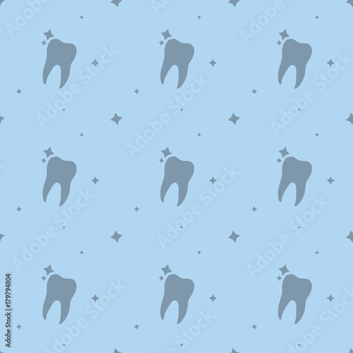 Dentist Care Molar Tooth With Stars Seamless Silhouette Background