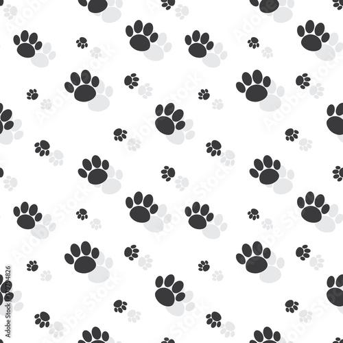 fototapeta na ścianę Animal Paw Print Seamless Monochrome Pattern