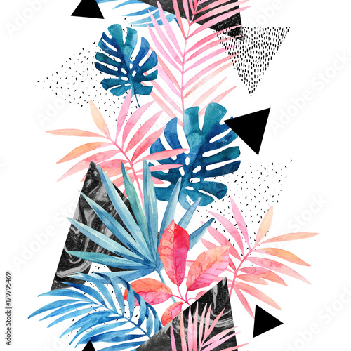 Modern art illustration with tropical leaves, grunge, marbling textures, doodles, geometric, minimal elements. - 179795469