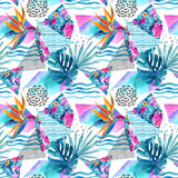 Watercolor tropical flowers and leaves on background with doodles, lines, geometrical shapes. - 179796044