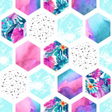 Watercolor hexagon seamless pattern with geometric ornament elements. - 179797051