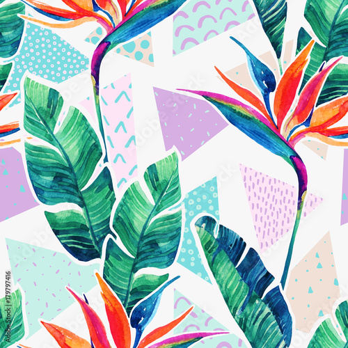 Watercolor tropical flowers on geometric background with doodles. - 179797416
