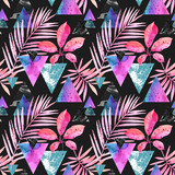 Watercolor exotic leaves, grunge textures, doodles seamless pattern in rave colors - 179797680