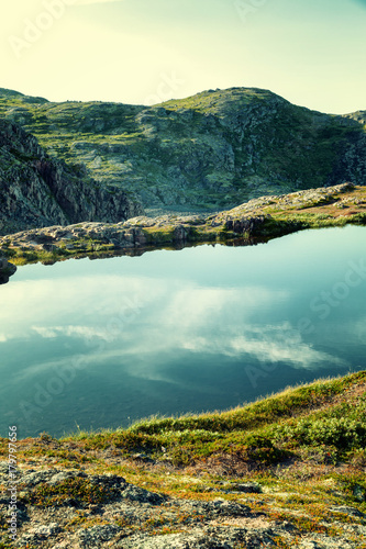 Foto op Canvas Groen blauw A beautiful mountain landscape, mountain lakes