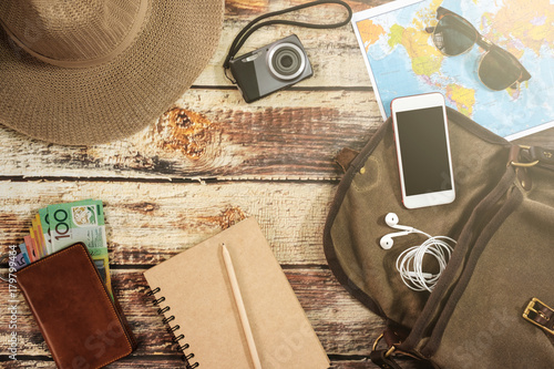 Fototapeta Traveler items vacation travel accessories holiday long weekend day off travelling stuff equipment background view concept