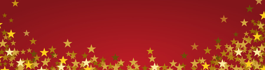 Festive banner Christmas background with copy space. Golden stars on red