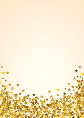 Festive vertical Christmas background with copy space. Golden stars on white