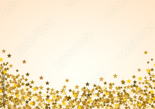 Festive horizontal Christmas background with copy space. Golden stars on white
