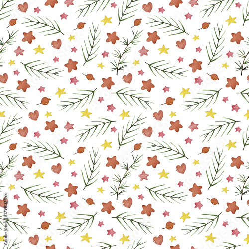 Materiał do szycia Watercolor winter seamless pattern. Pattern with winter berries, hearts, stars, branches. Perfect for you postcard design,invitations,projects,wedding card,poster, packaging.