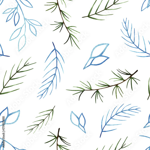 Watercolor winter seamless pattern. Pattern with winter branches. Perfect for you postcard design,invitations,projects,wedding card,poster, packaging. - 179802488