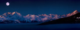 Scenic panorama sunset landscape of Crans-Montana range in Swiss Alps mountains with peak in background, Crans Montana, Switzerland. - 179803814