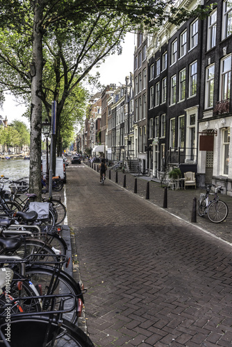 Foto op Plexiglas Amsterdam Street view of Amsterdam in the evening. Netherlands September 2017