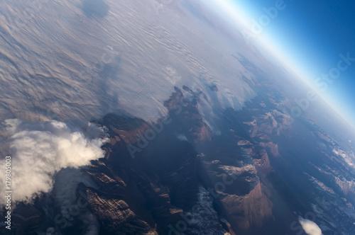 Mountains of Georgia country through the airplane window