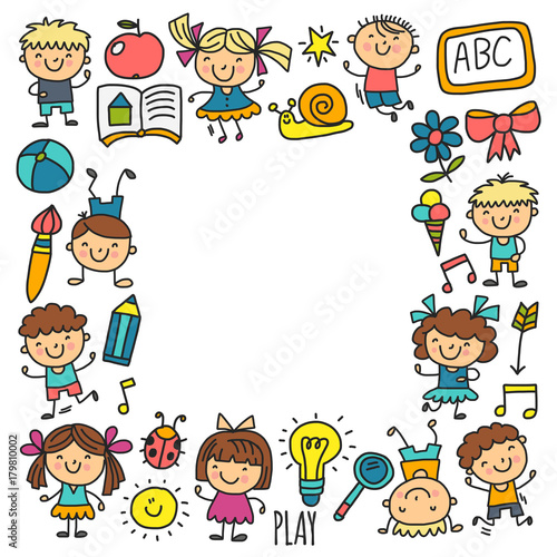 Kids drawing Kindergarten School Happy children play Illustration for kids Nursery Preschool Children icon