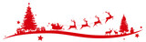 Fototapety Christmas border with flying sleigh
