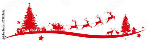 Christmas border with flying sleigh - 179815666